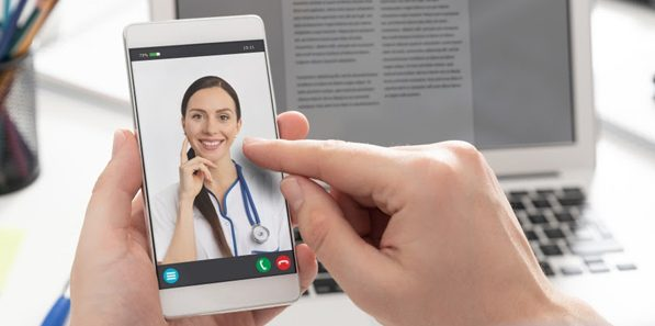 Video conferencing with a doctor through a mobile phone