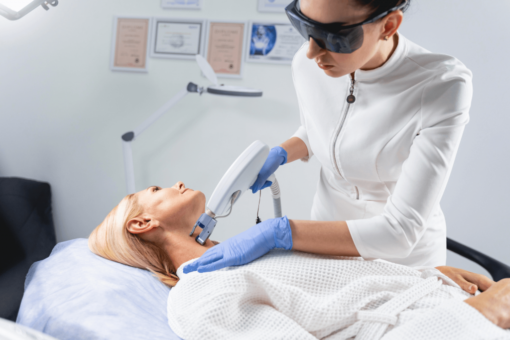 A physician administering an Ultherapy procedure