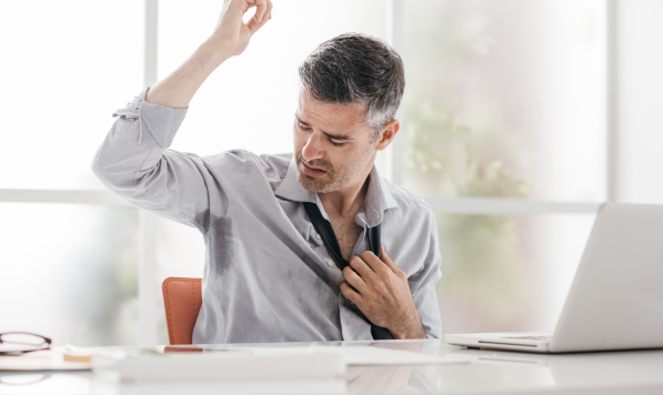 A man concerned about his hyperhidrosis
